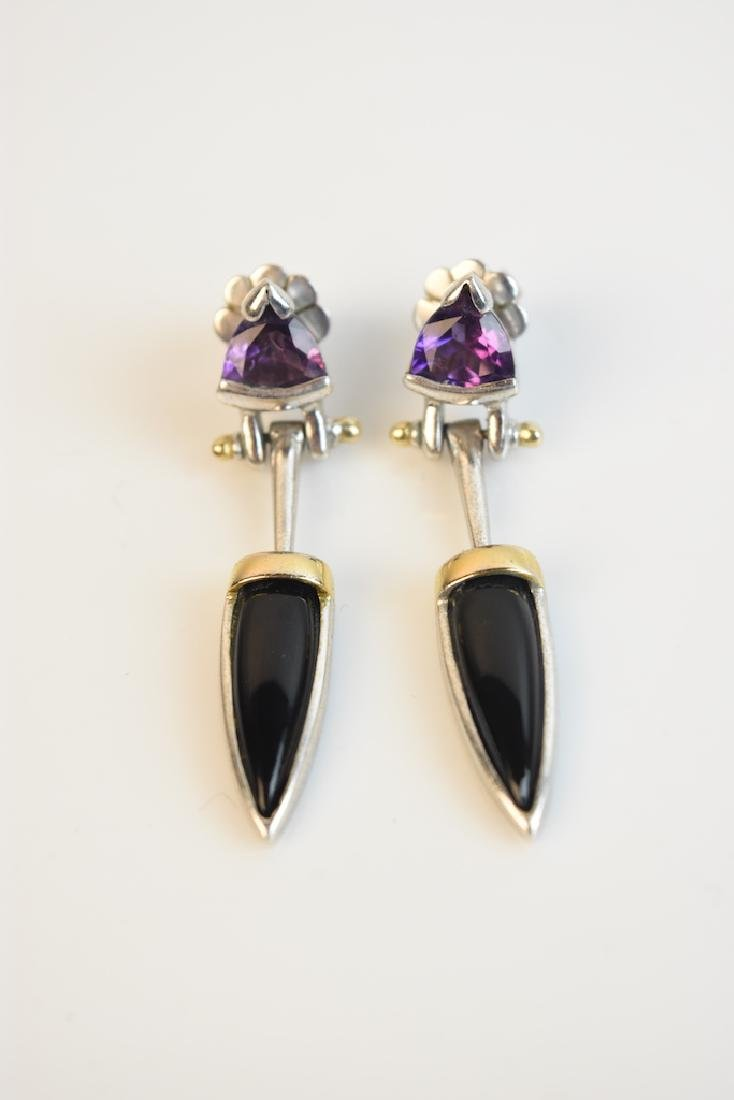 Black Onyx & Lavender Jade Earrings