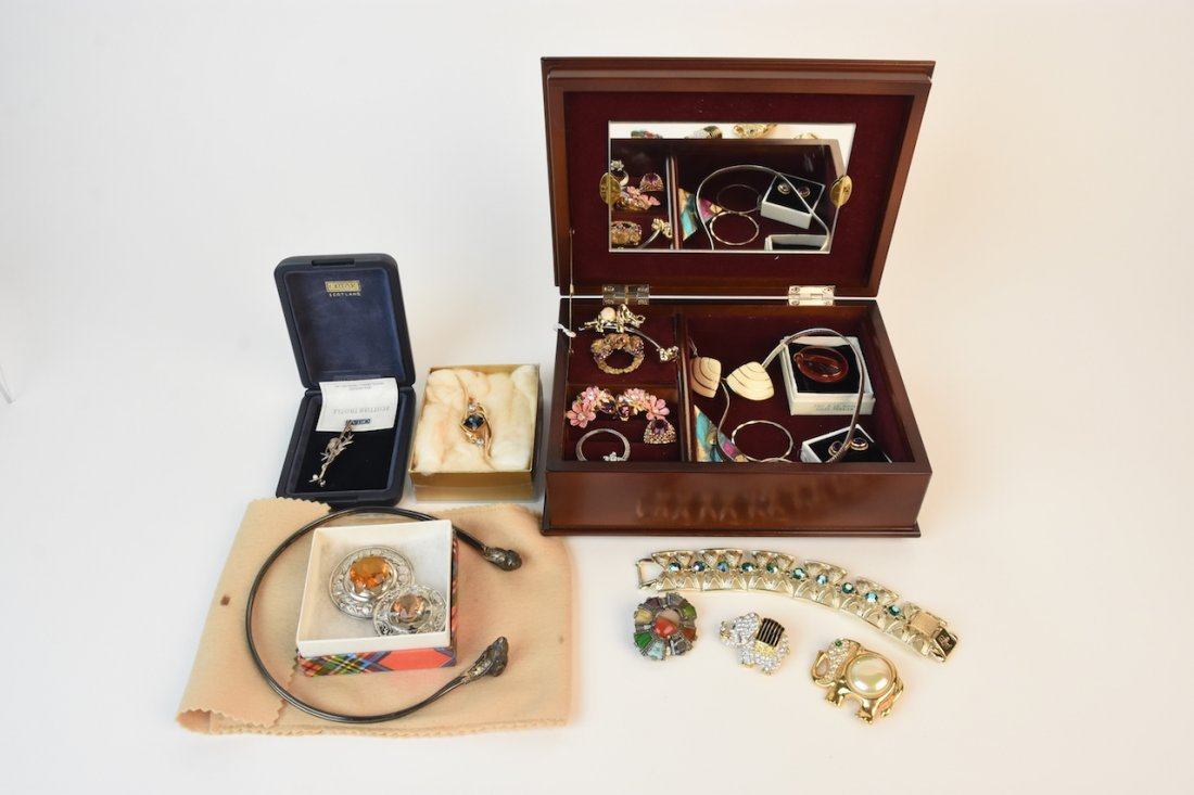 Ando Cloisonne Music Box & Costume Jewelry