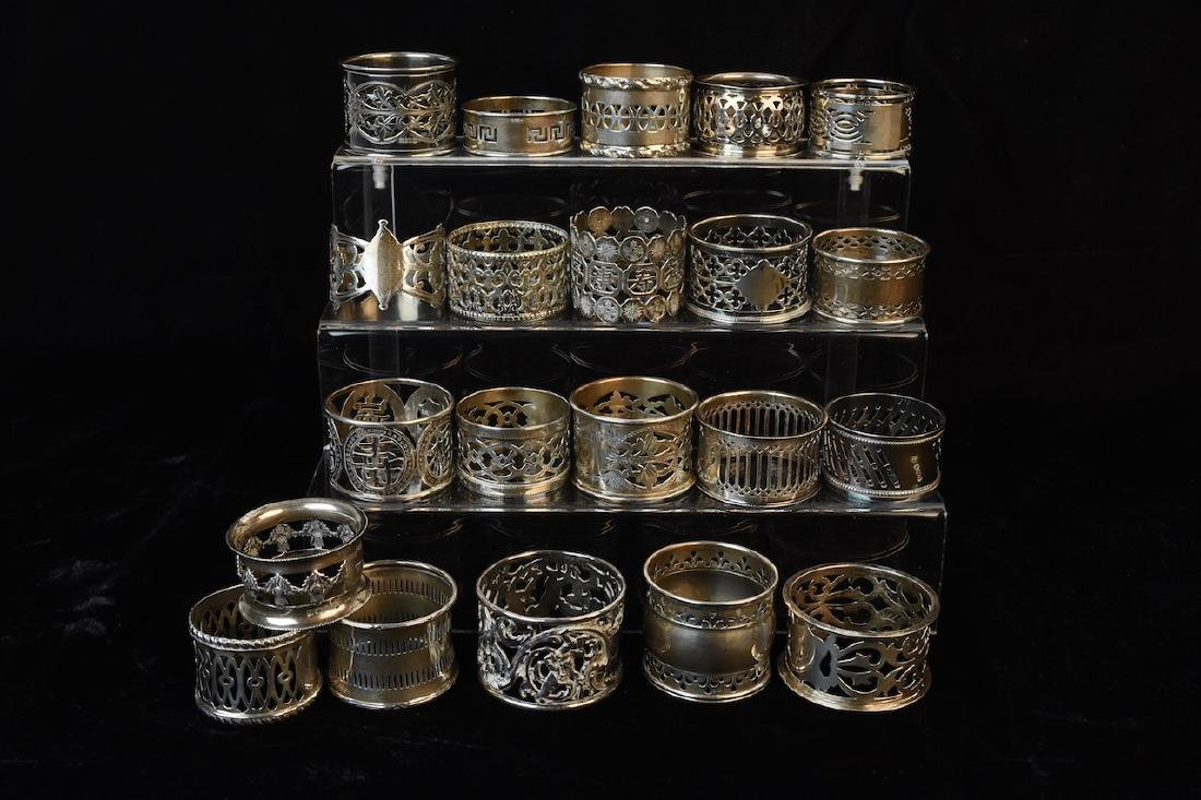 Sterling & Silverplate Napkin Rings - 21 in all