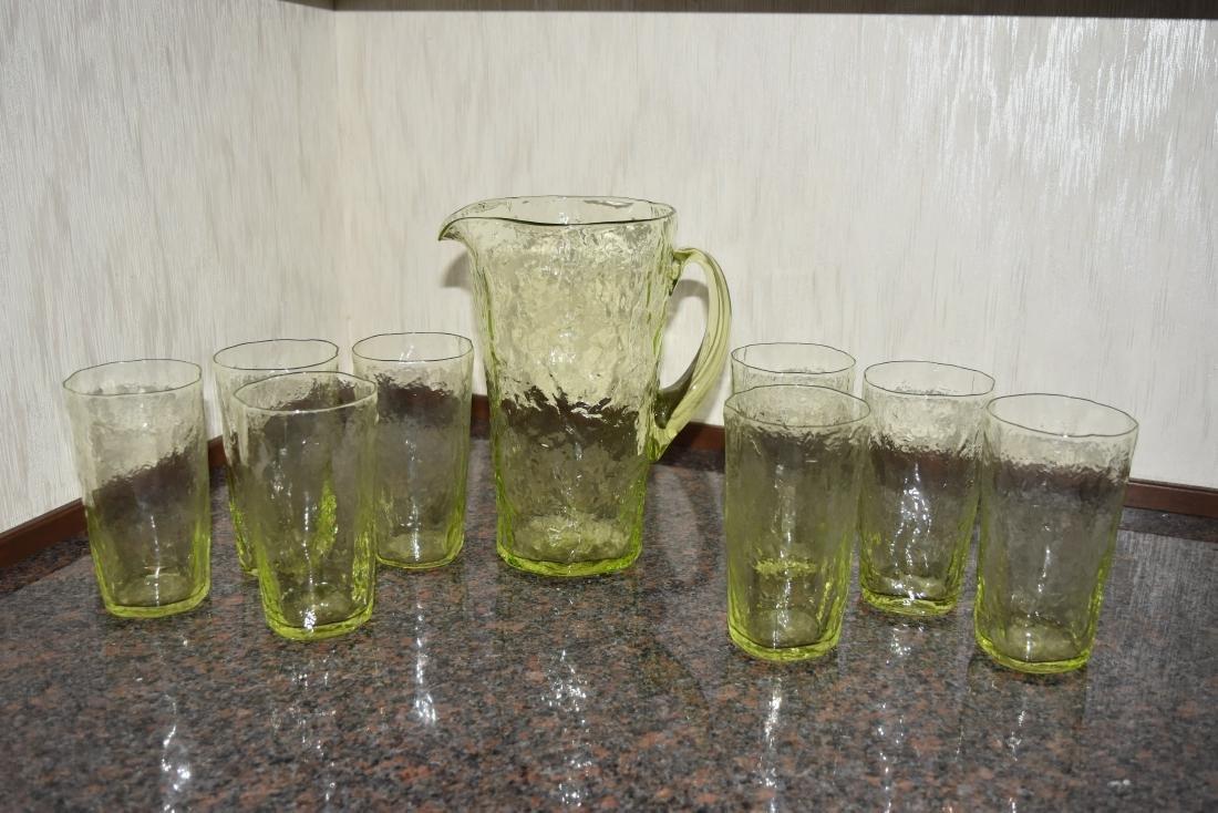 Vintage Crinkle Glass Lemonade Set