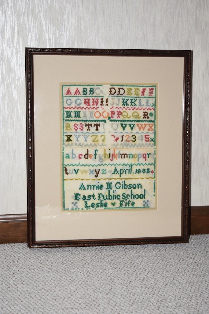 1885 Needlepoint Alphabet Sampler; Signed