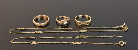 14K Yellow Gold Necklace and Rings 12 g