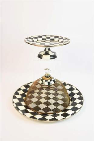 MacKenzie Childs Pedestal, Charger & Dome
