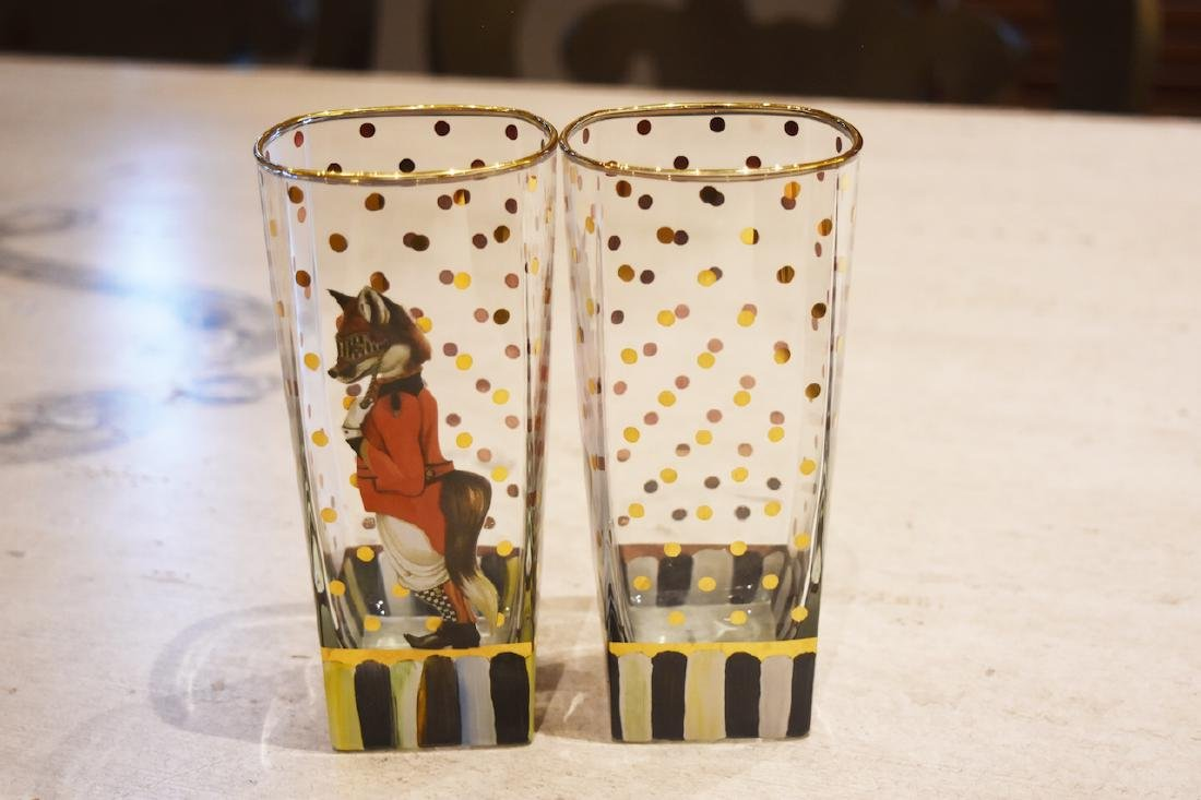 (6) MacKenzie Childs Sly Foxworthy Glasses - 8