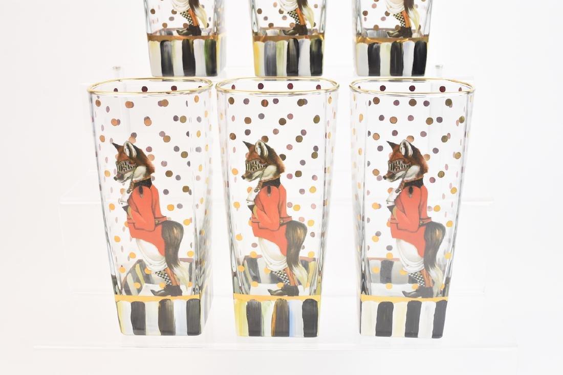 (6) MacKenzie Childs Sly Foxworthy Glasses - 6