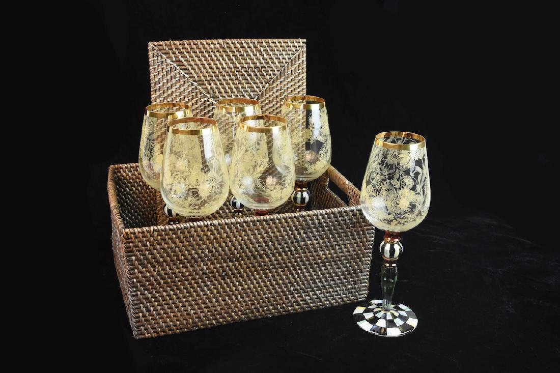 MacKenzie Childs Blooming Wine Glasses