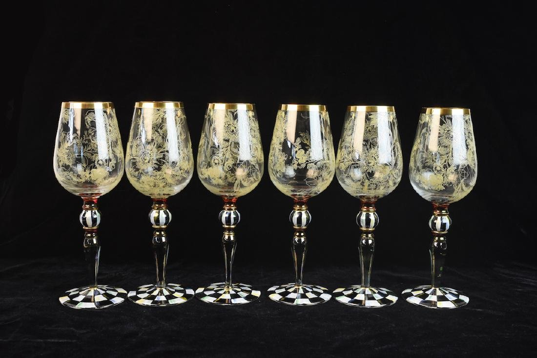 MacKenzie Childs Blooming Wine Glasses - 4