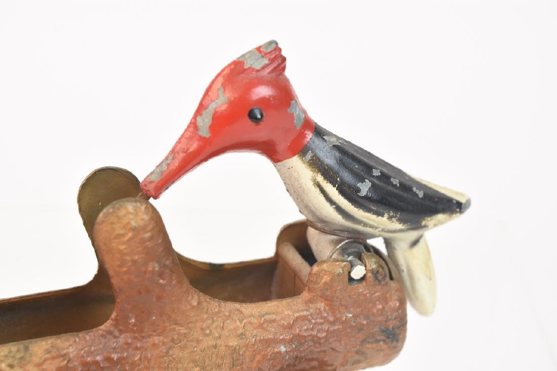 Vintage Cast Metal Woodpecker Toothpick Dispenser - 4