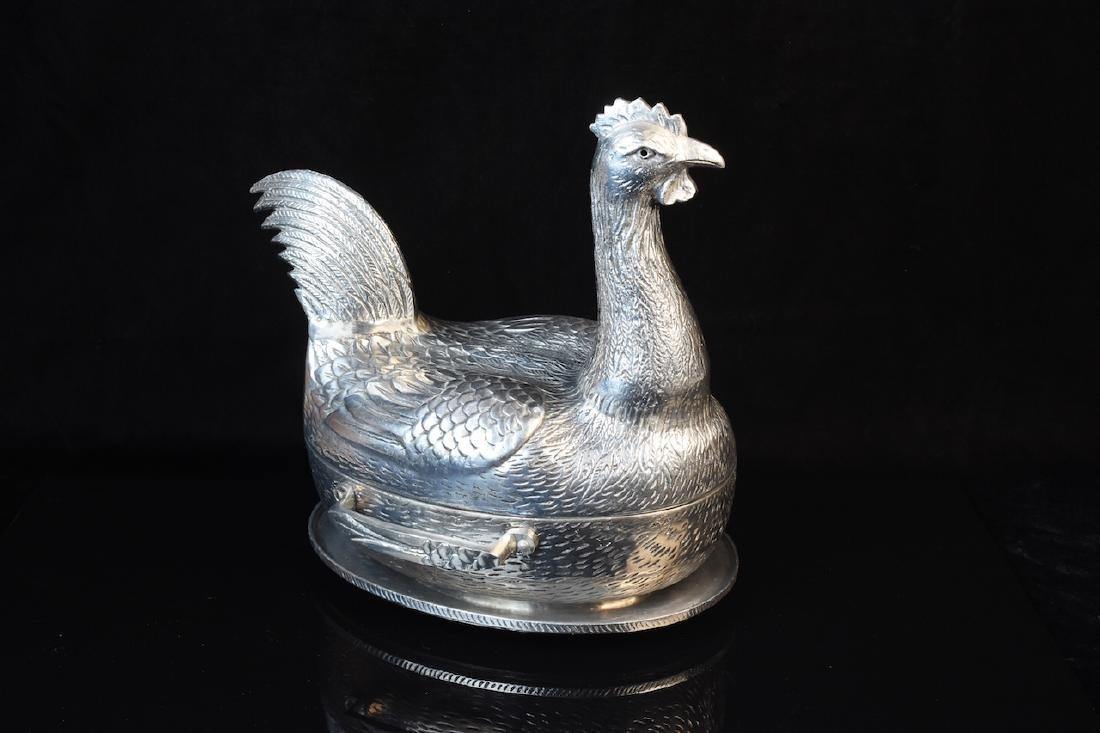 Arthur Court Aluminum Chicken Tureen c. 1977