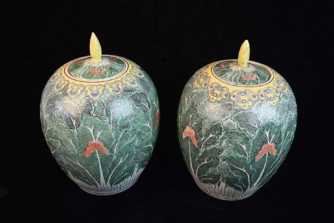 Pair of Lidded Antique Asian Melon Jars - 2