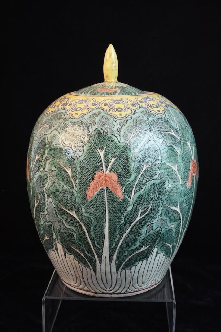 Pair of Lidded Antique Asian Melon Jars - 5