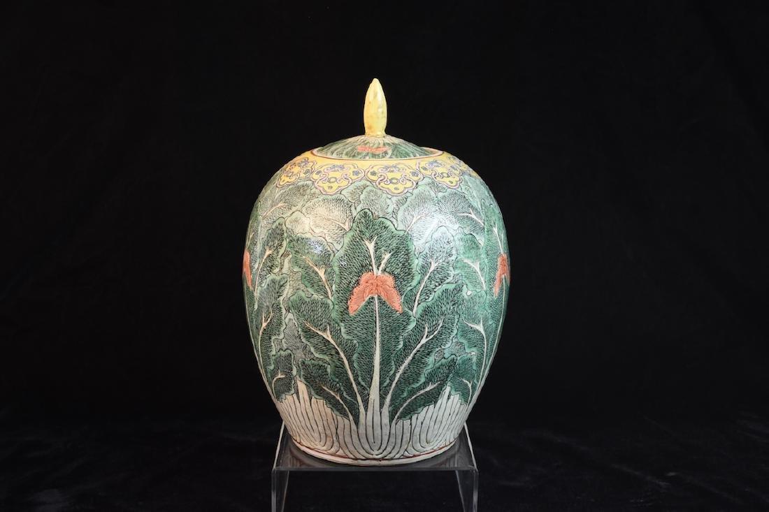 Pair of Lidded Antique Asian Melon Jars - 6