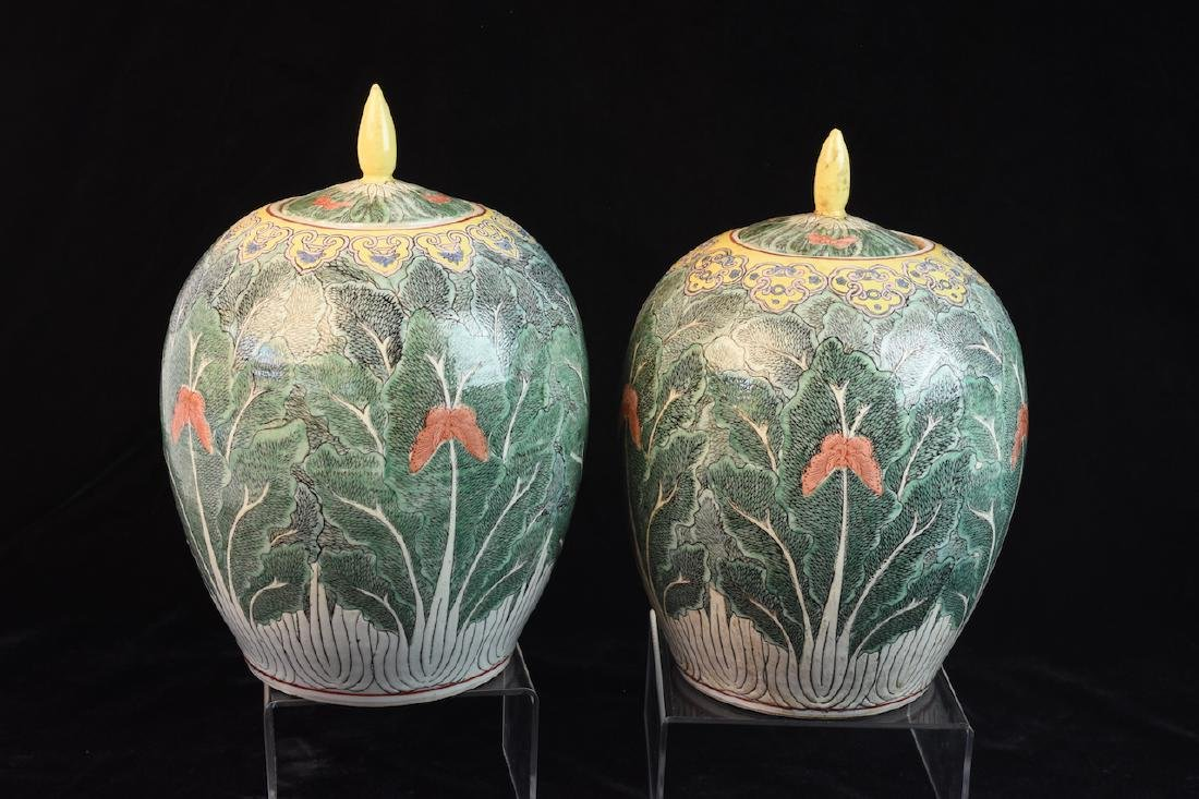 Pair of Lidded Antique Asian Melon Jars - 7