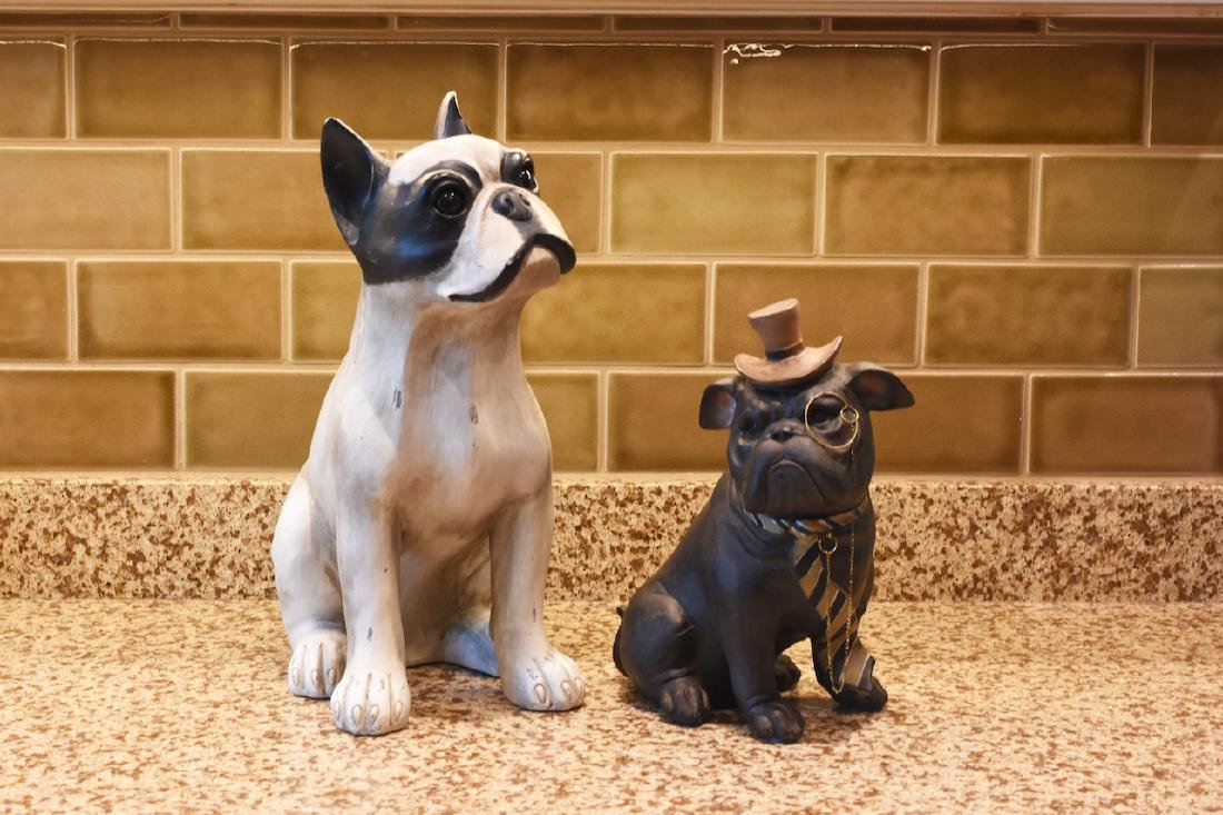 Resin Boston Terrier & Pug Dog Statues