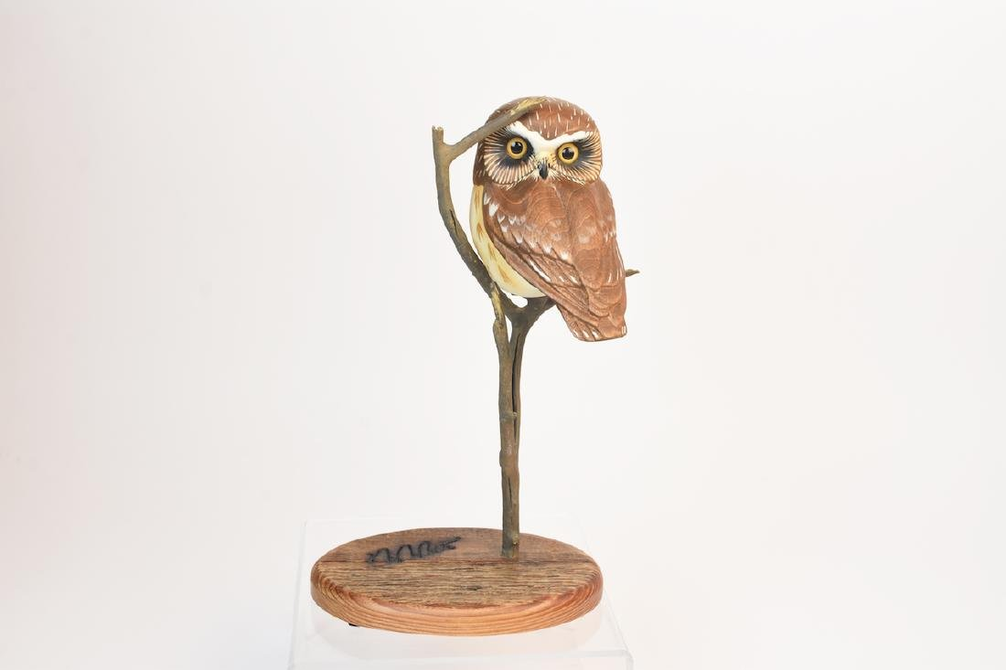 "Ken White ""Big Sky Carvers"" Carved Wood Owl; signed"