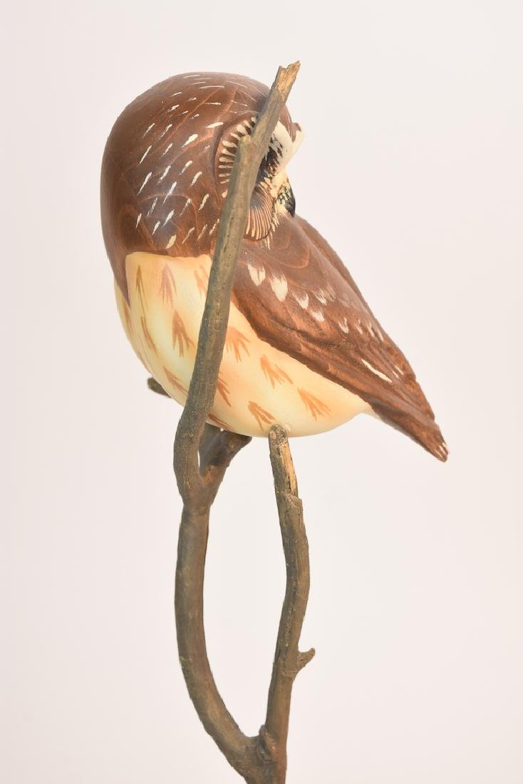 "Ken White ""Big Sky Carvers"" Carved Wood Owl; signed - 3"