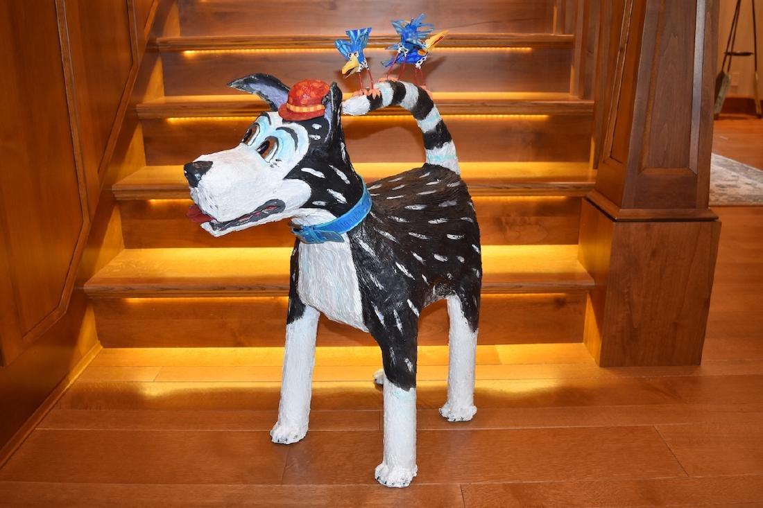 Joyce Curvin Zany Recycled Dog Sculpture