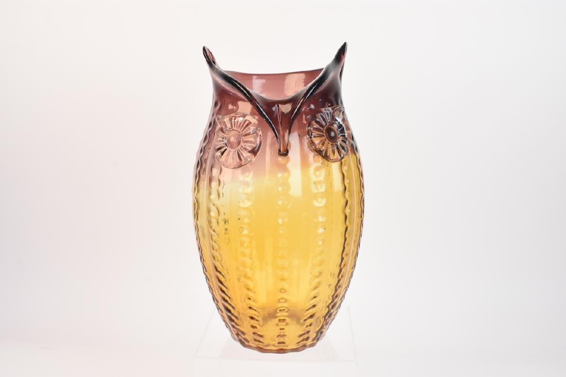 Owl Shaped Art Glass Vase