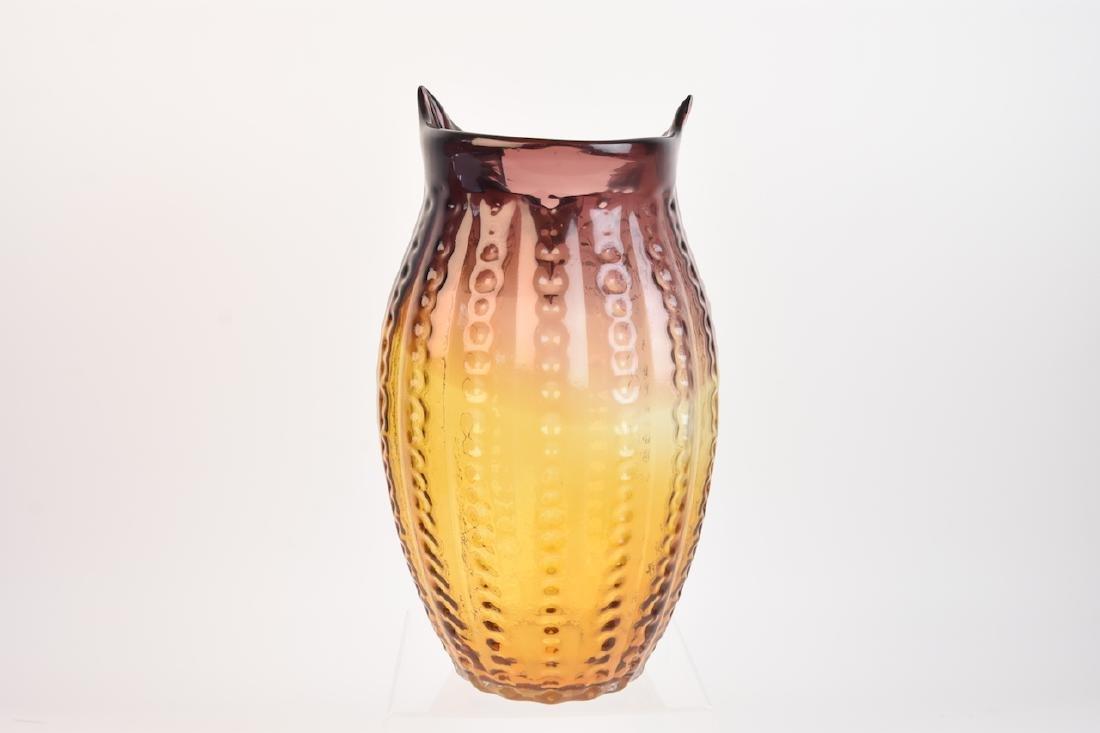 Owl Shaped Art Glass Vase - 4