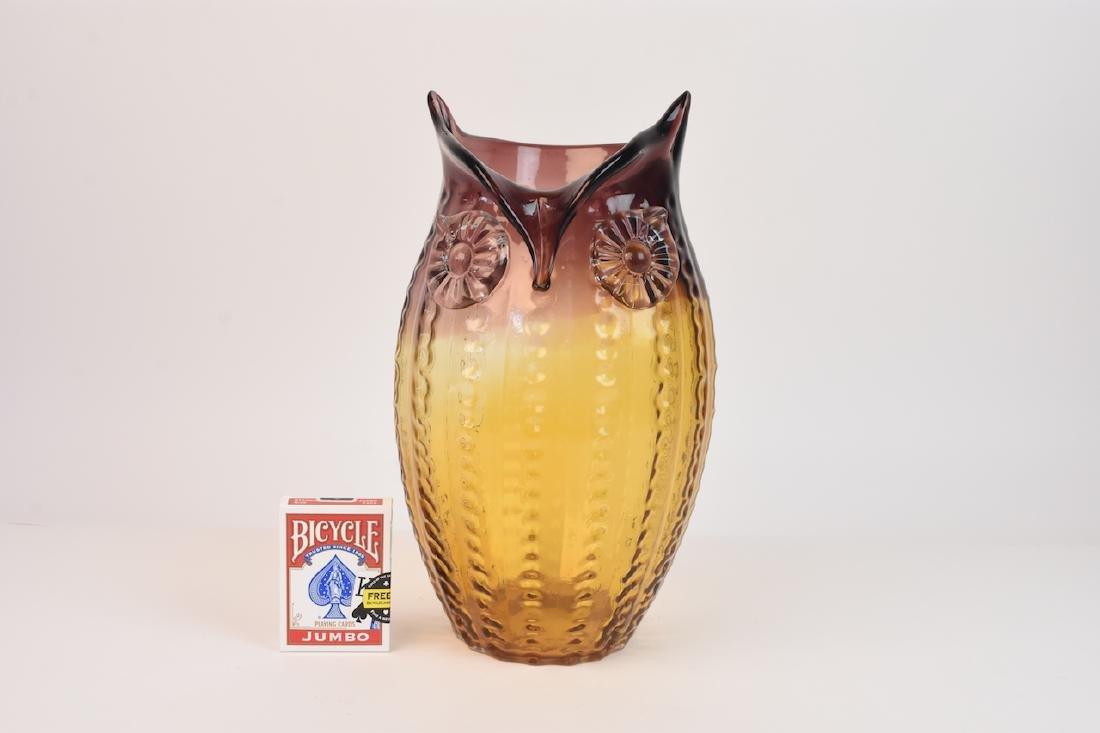 Owl Shaped Art Glass Vase - 7