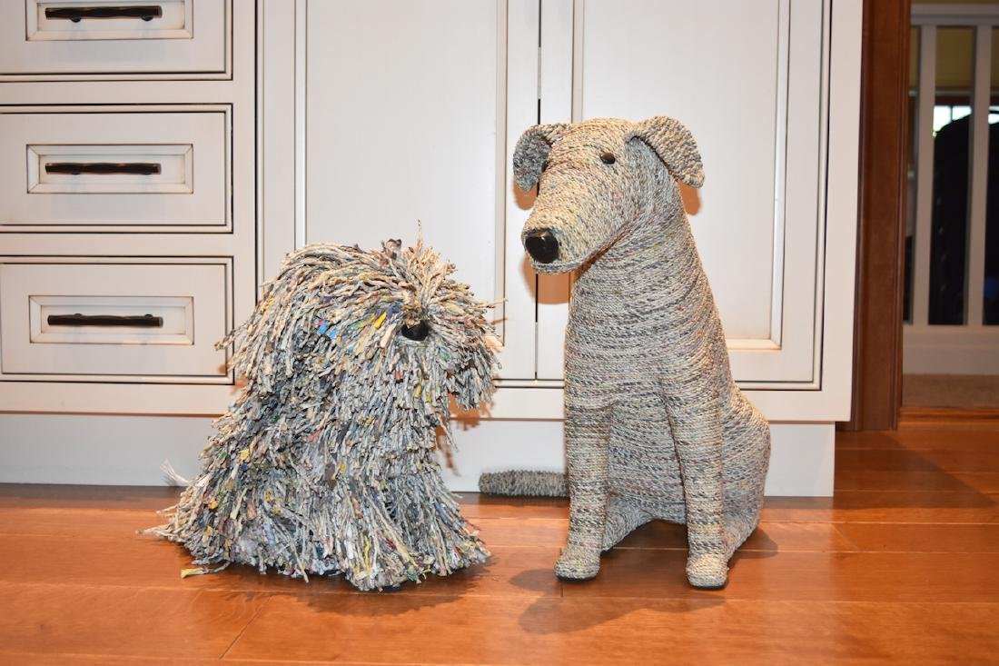 """Recycled Newspaper Dogs """"Rascal & Rover"""""""
