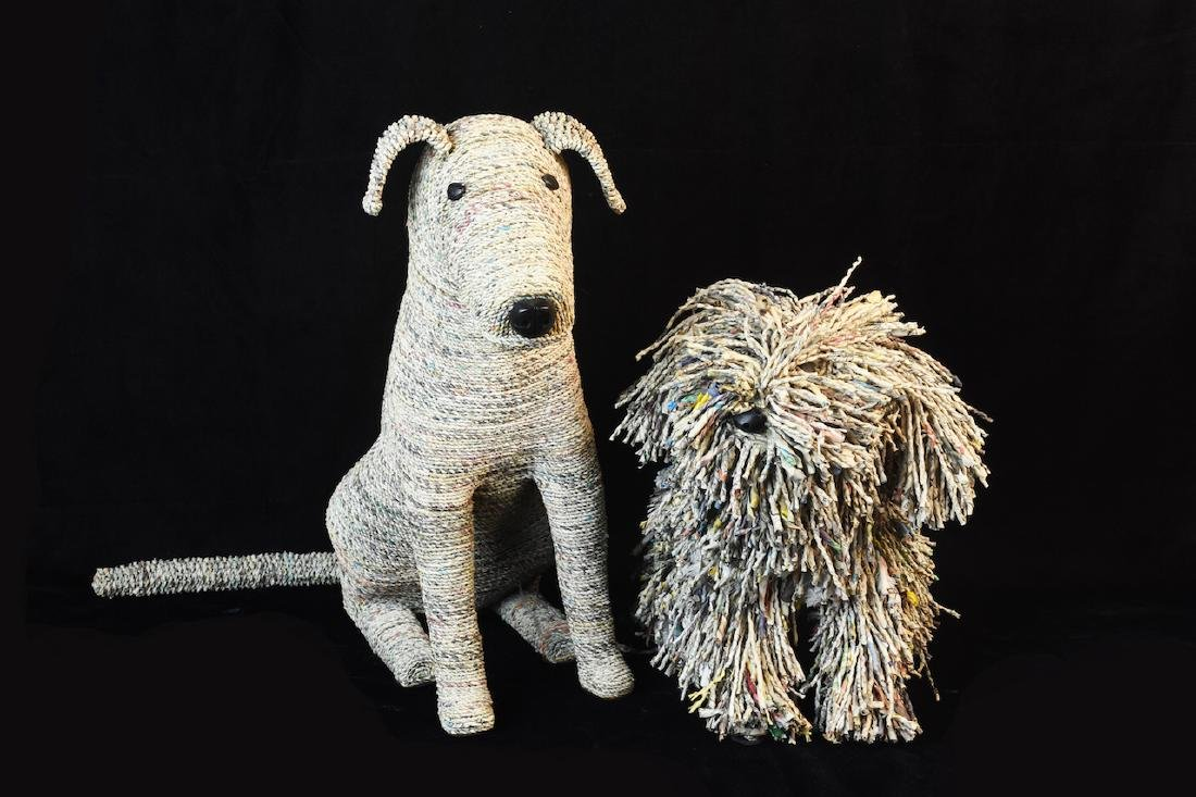 """Recycled Newspaper Dogs """"Rascal & Rover"""" - 2"""