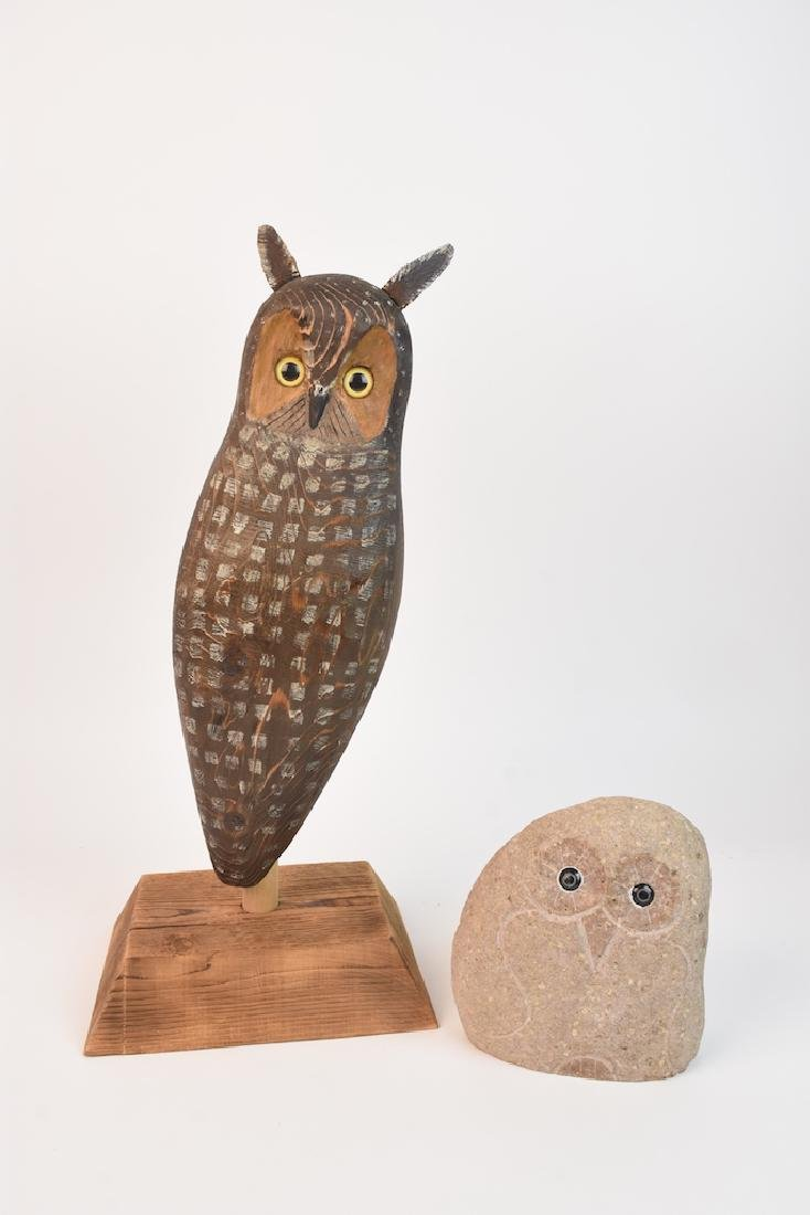 Wood Carved Owl by John K. Jewell & Stone Owl