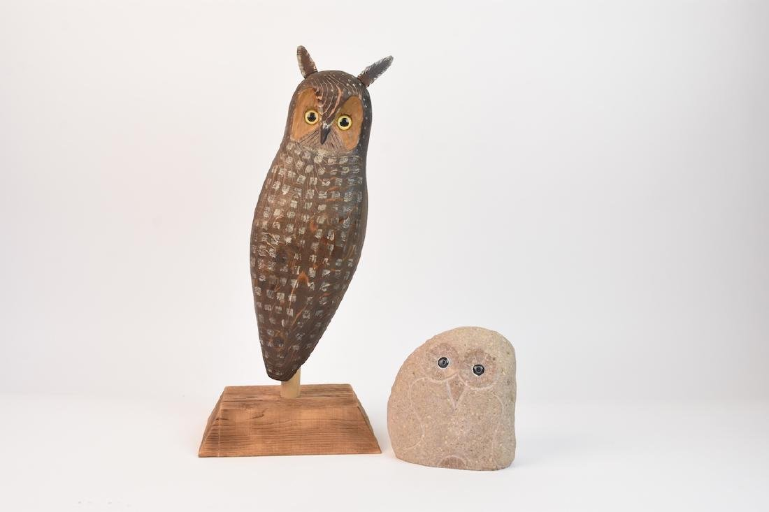 Wood Carved Owl by John K. Jewell & Stone Owl - 2
