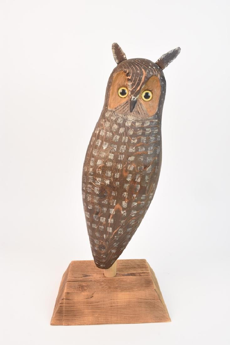 Wood Carved Owl by John K. Jewell & Stone Owl - 3