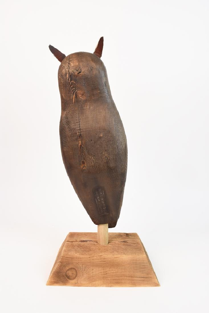 Wood Carved Owl by John K. Jewell & Stone Owl - 5