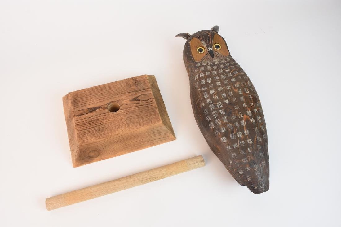 Wood Carved Owl by John K. Jewell & Stone Owl - 7