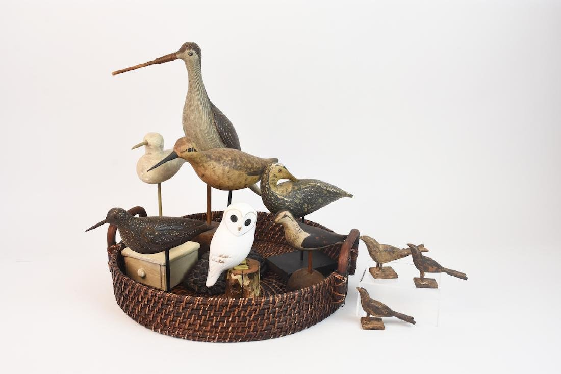 (10) Carved Wood Shore Birds & Owl