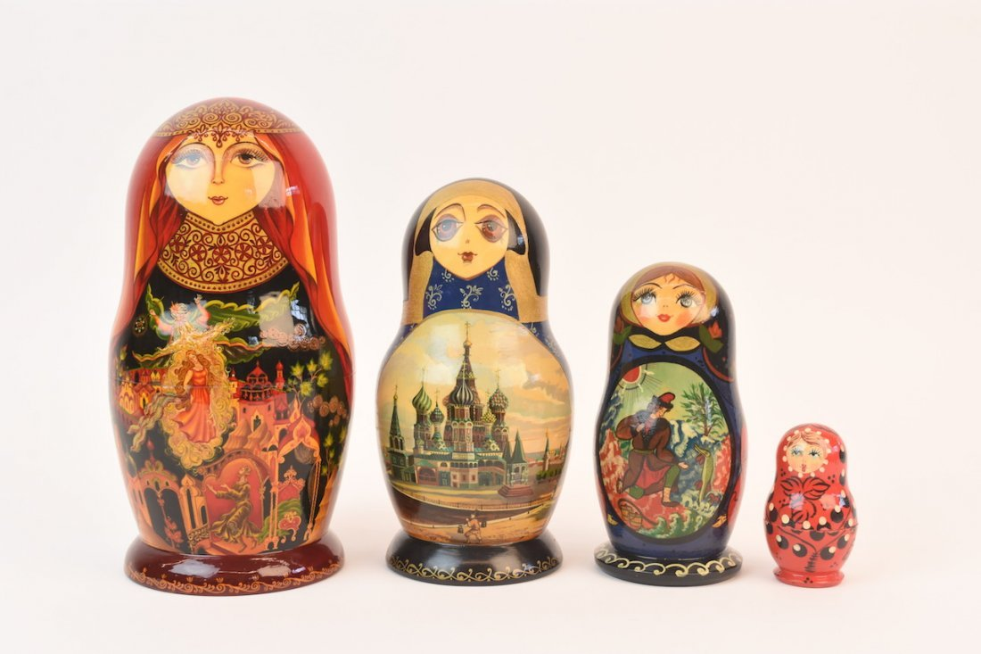 Authentic Russian Nesting Dolls; signed