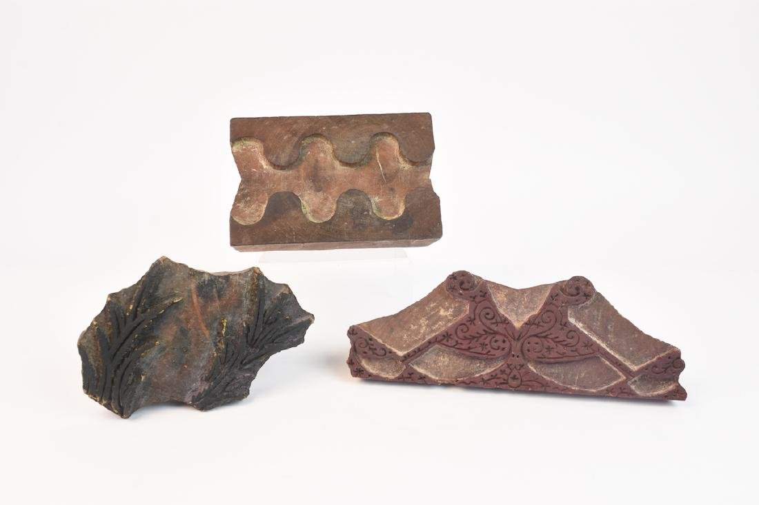 (3) Wood Carved Textile Stamps