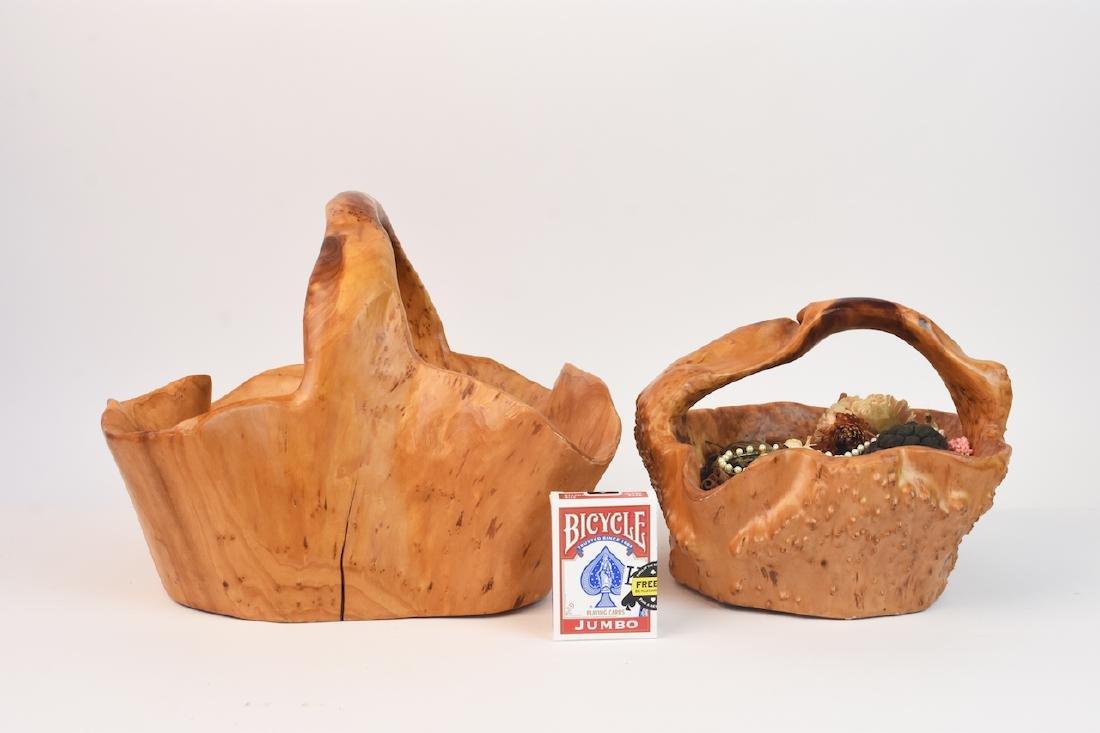 (2) Artist Carved Wood Baskets - 12