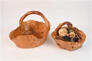 2 Artist Carved Wood Baskets