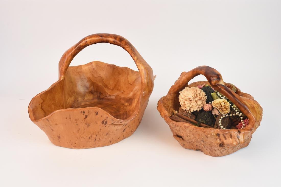 (2) Artist Carved Wood Baskets