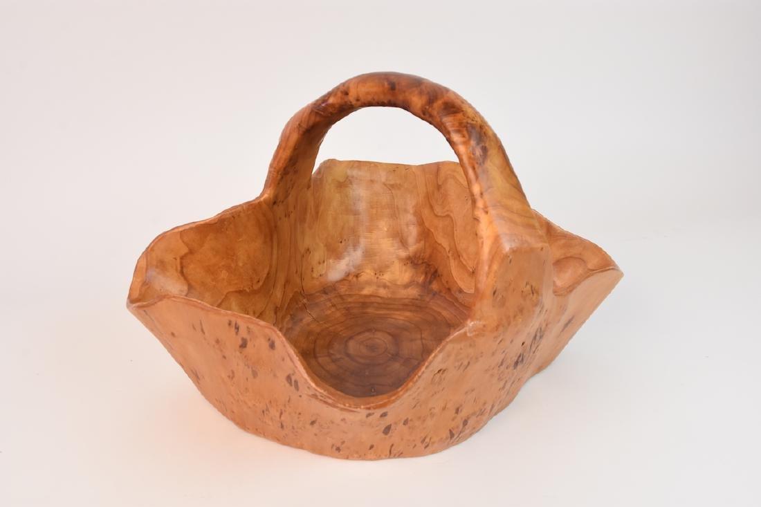 (2) Artist Carved Wood Baskets - 2