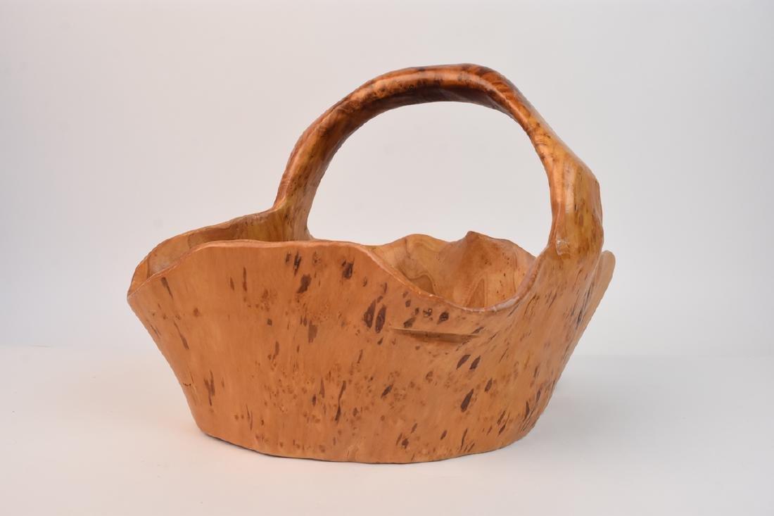 (2) Artist Carved Wood Baskets - 3