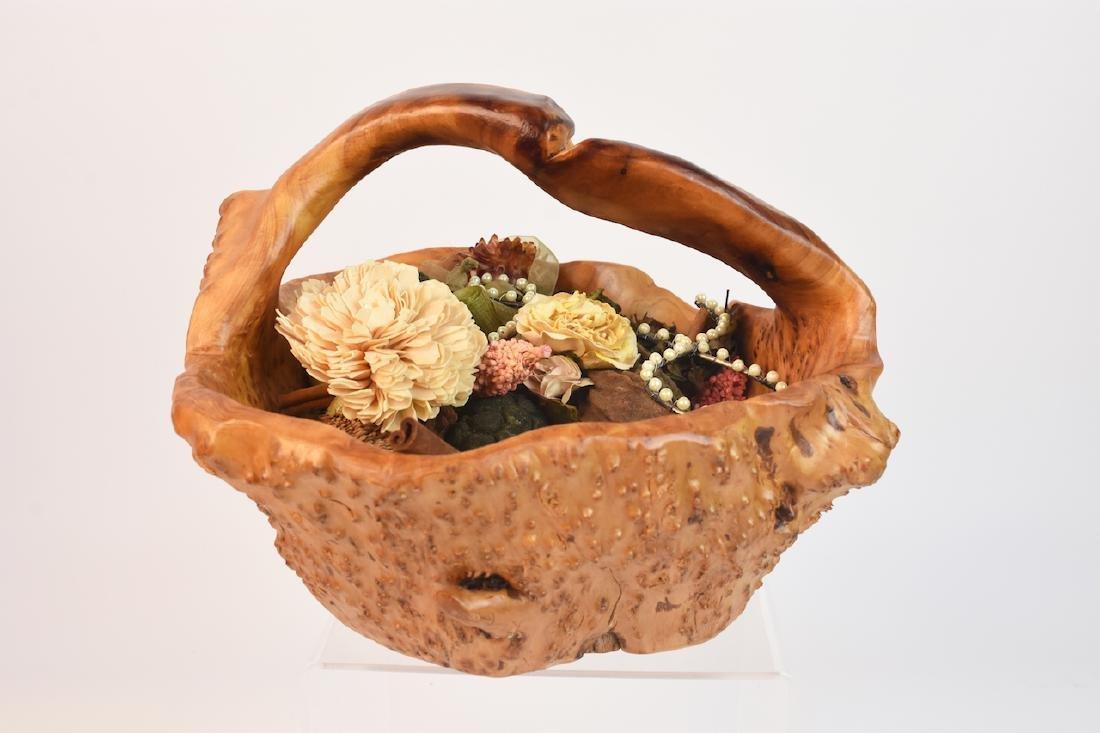 (2) Artist Carved Wood Baskets - 8