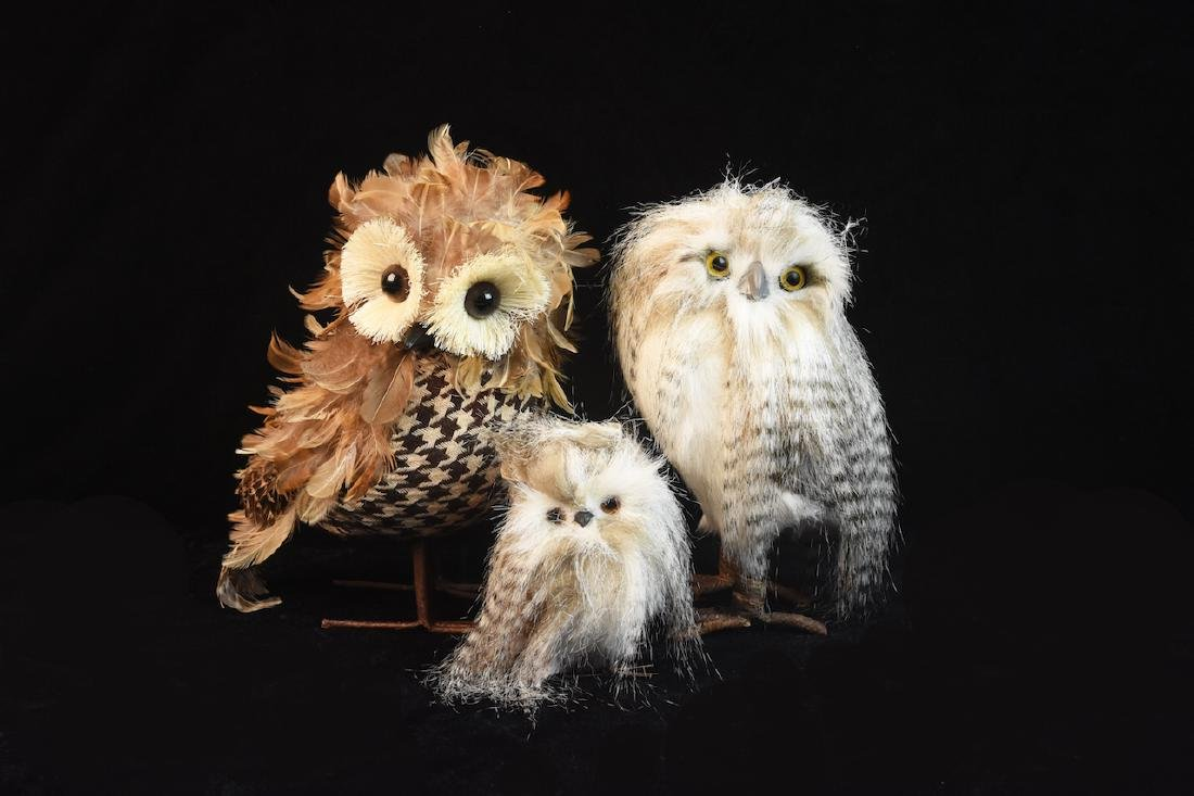 Trio of Feathered Owl Figurals