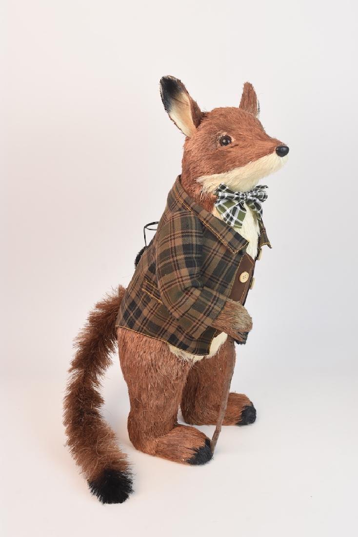 (2) Natural Straw Fox Statues