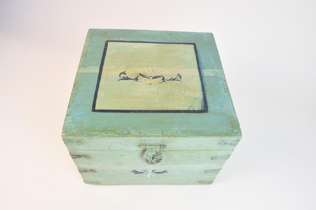 Shabby Chic Seafoam Green Quarter Trunk - 2