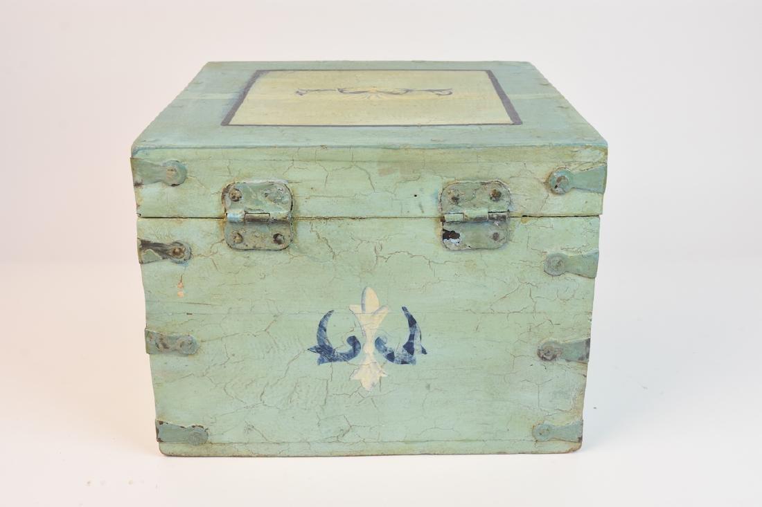Shabby Chic Seafoam Green Quarter Trunk - 5