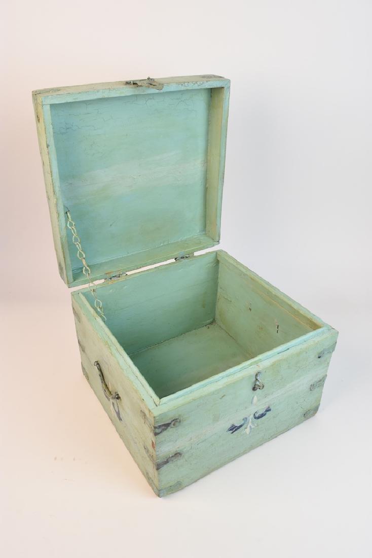 Shabby Chic Seafoam Green Quarter Trunk - 6