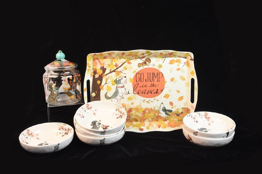 Whimsical Dog Inspired Bowls, Tray & Jar