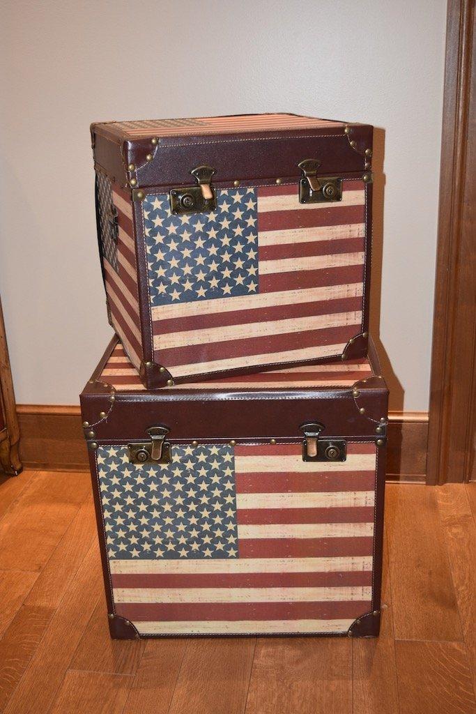 (2) Patriotic American Flag Storage Trunks