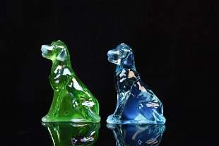 2 Mosser Iridescent Art Glass Dog Figurines