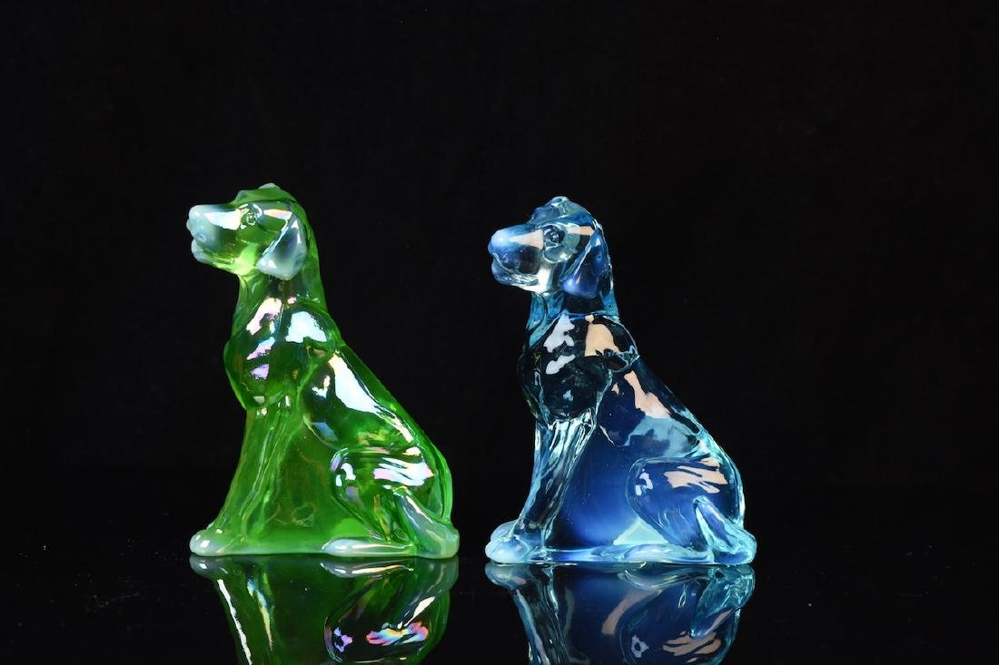(2) Mosser Iridescent Art Glass Dog Figurines