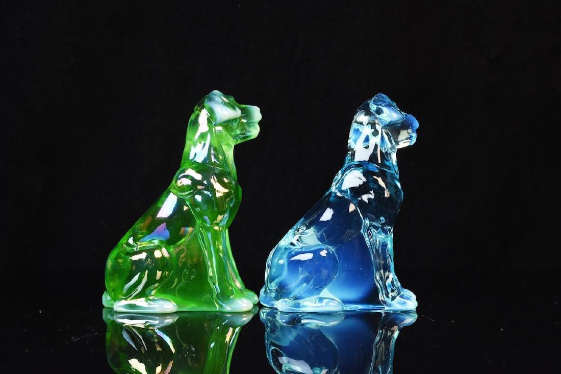 (2) Mosser Iridescent Art Glass Dog Figurines - 2